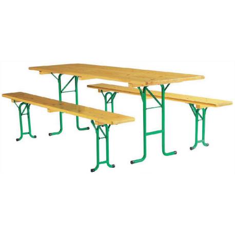 Table Rectangle en Bois avec 2 Bancs - Kermesse