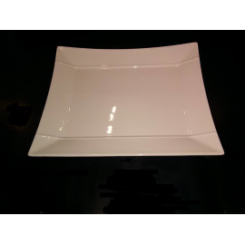 Assiette ou Plat Rectangle - Blanc - Porcelaine 27 cm