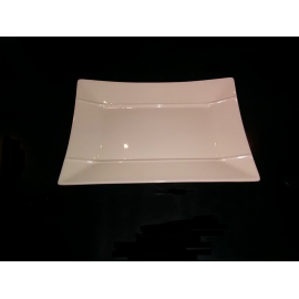 Petite Assiette ou Plat Rectangle - Blanc - Porcelaine 21 cm