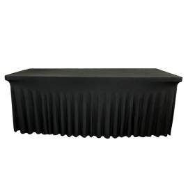 Nappe Noire Juponnage pour Table Rectangle