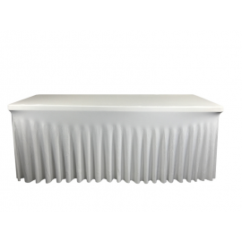 Nappe Blanche Juponnage pour Table Rectangle