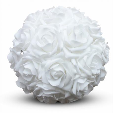 Location de Boule de Roses Blanches - Diam 15 cm